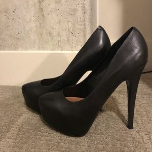 Platform black leather stilettos